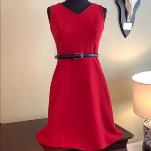 AGB belted red dress